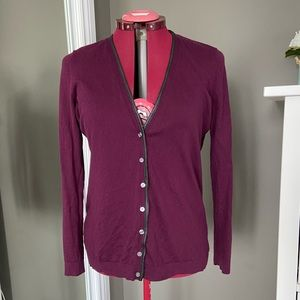 Ann Taylor Aubergine Cardigan with Faux Leather